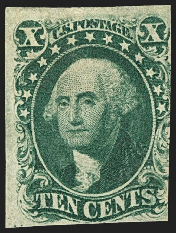 US Stamp Values Scott Catalogue 13 - 1855 10c Washington. Robert Siegel Auction Galleries, Jul 2015, Sale 1107, Lot 67