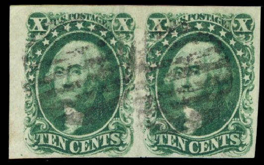 US Stamps Values Scott Catalog 13 - 1855 10c Washington. Daniel Kelleher Auctions, Aug 2015, Sale 672, Lot 2155