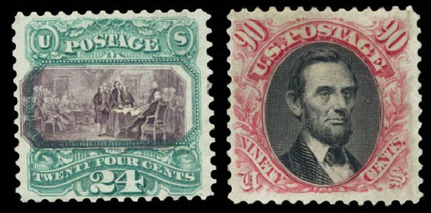 US Stamps Prices Scott Cat. # 130 - 24c 1875 Pictorial Re-issue Declaration. Daniel Kelleher Auctions, Aug 2015, Sale 672, Lot 2391