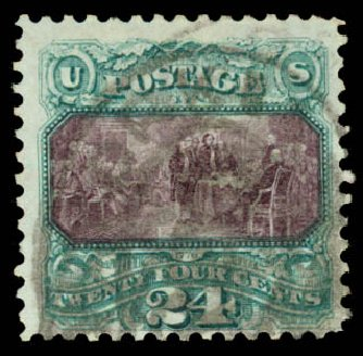 US Stamps Prices Scott Cat. #130: 24c 1875 Pictorial Re-issue Declaration. Daniel Kelleher Auctions, Aug 2015, Sale 672, Lot 2394