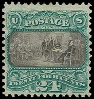 Costs of US Stamps Scott Catalog 130 - 1875 24c Pictorial Re-issue Declaration. H.R. Harmer, Jun 2015, Sale 3007, Lot 3202