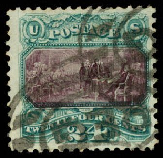 Prices of US Stamps Scott Cat. # 130 - 24c 1875 Pictorial Re-issue Declaration. Daniel Kelleher Auctions, Aug 2015, Sale 672, Lot 2393