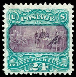 Cost of US Stamp Scott Catalogue # 130 - 1875 24c Pictorial Re-issue Declaration. Schuyler J. Rumsey Philatelic Auctions, Apr 2015, Sale 60, Lot 2133