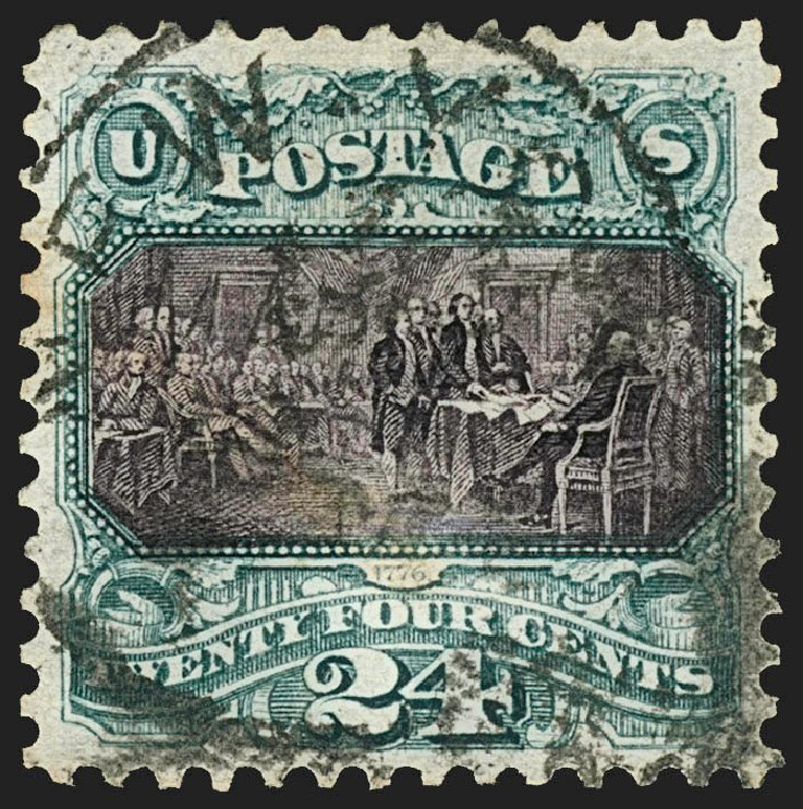 Prices of US Stamps Scott Cat. # 130 - 24c 1875 Pictorial Re-issue Declaration. Robert Siegel Auction Galleries, Jul 2015, Sale 1107, Lot 253