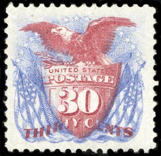 Costs of US Stamps Scott Catalogue 131 - 1875 30c Pictorial Re-issue Shield Eagle Flags. Spink Shreves Galleries, Jul 2015, Sale 151, Lot 127