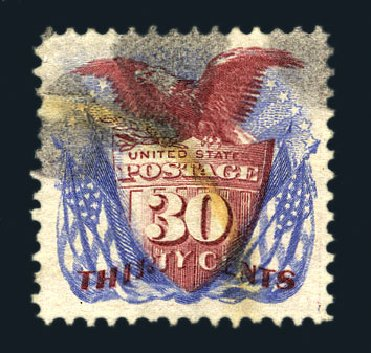US Stamps Values Scott Catalog #131: 1875 30c Pictorial Re-issue Shield Eagle Flags. Harmer-Schau Auction Galleries, Aug 2015, Sale 106, Lot 1489