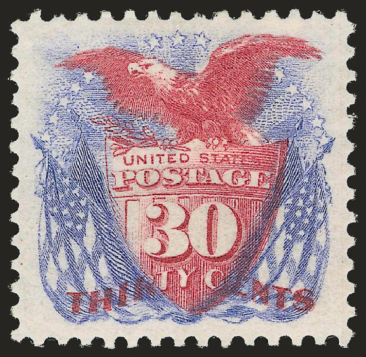 US Stamp Values Scott Catalogue 131: 1875 30c Pictorial Re-issue Shield Eagle Flags. Robert Siegel Auction Galleries, Jun 2015, Sale 1106, Lot 3120
