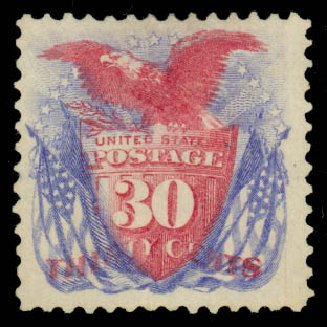 Cost of US Stamps Scott 131: 1875 30c Pictorial Re-issue Shield Eagle Flags. Daniel Kelleher Auctions, Jan 2015, Sale 663, Lot 1371