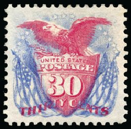 US Stamp Value Scott #131: 30c 1875 Pictorial Re-issue Shield Eagle Flags. Schuyler J. Rumsey Philatelic Auctions, Apr 2015, Sale 60, Lot 2134
