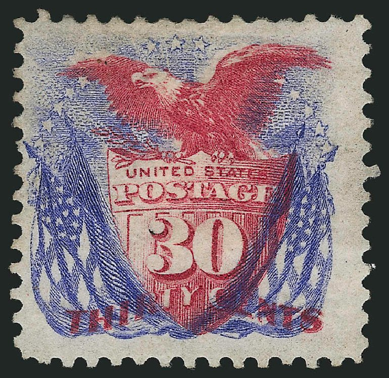 US Stamps Value Scott 131: 1875 30c Pictorial Re-issue Shield Eagle Flags. Robert Siegel Auction Galleries, Jul 2015, Sale 1107, Lot 254