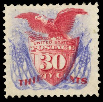 US Stamp Values Scott #131: 1875 30c Pictorial Re-issue Shield Eagle Flags. Daniel Kelleher Auctions, Aug 2015, Sale 672, Lot 2395