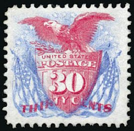 Value of US Stamp Scott # 131: 1875 30c Pictorial Re-issue Shield Eagle Flags. Schuyler J. Rumsey Philatelic Auctions, Apr 2015, Sale 60, Lot 2135