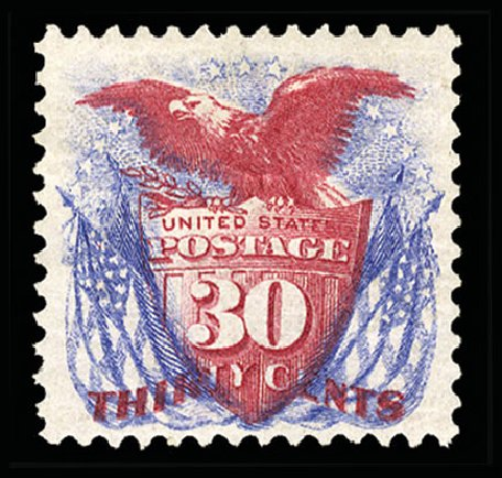 US Stamp Prices Scott Catalog 131: 30c 1875 Pictorial Re-issue Shield Eagle Flags. Cherrystone Auctions, Jul 2015, Sale 201507, Lot 52