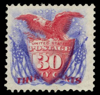 Value of US Stamps Scott Cat. # 131: 30c 1875 Pictorial Re-issue Shield Eagle Flags. Daniel Kelleher Auctions, Jan 2015, Sale 663, Lot 1372