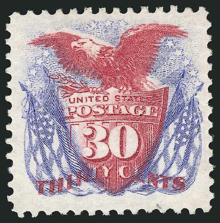 Value of US Stamp Scott # 131: 1875 30c Pictorial Re-issue Shield Eagle Flags. Robert Siegel Auction Galleries, Dec 2014, Sale 1090, Lot 1293