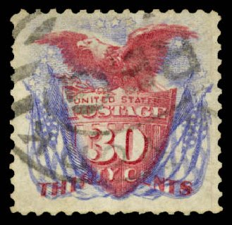 US Stamps Value Scott Catalog #131: 30c 1875 Pictorial Re-issue Shield Eagle Flags. Daniel Kelleher Auctions, Aug 2015, Sale 672, Lot 2396