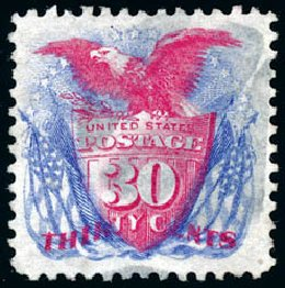 Value of US Stamps Scott Catalog #131 - 30c 1875 Pictorial Re-issue Shield Eagle Flags. Schuyler J. Rumsey Philatelic Auctions, Apr 2015, Sale 60, Lot 2136