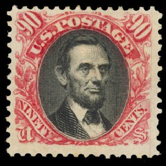 Cost of US Stamp Scott Catalogue # 132 - 90c 1875 Pictorial Re-issue Lincoln. Daniel Kelleher Auctions, Aug 2015, Sale 672, Lot 2397