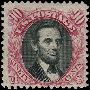 Value of US Stamp Scott Catalogue # 132 - 1875 90c Pictorial Re-issue Lincoln. Regency-Superior, Jan 2015, Sale 109, Lot 797