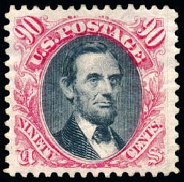 Values of US Stamps Scott Cat. # 132: 1875 90c Pictorial Re-issue Lincoln. Schuyler J. Rumsey Philatelic Auctions, Apr 2015, Sale 60, Lot 2137