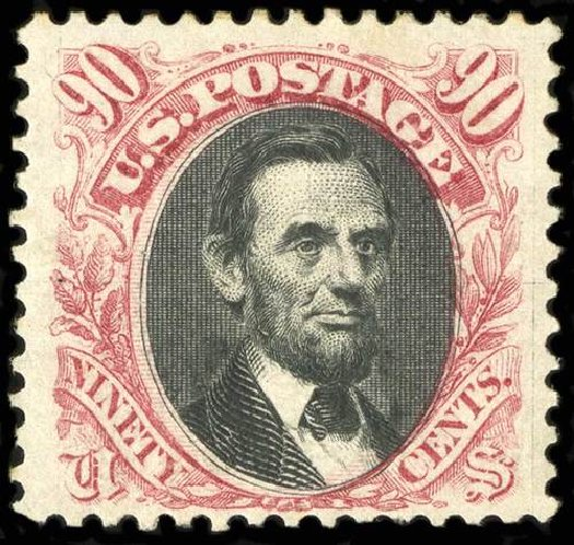 Prices of US Stamp Scott 132 - 1875 90c Pictorial Re-issue Lincoln. Spink Shreves Galleries, Jul 2015, Sale 151, Lot 128