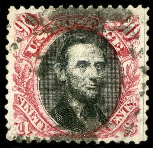 US Stamp Prices Scott Catalog #132: 1875 90c Pictorial Re-issue Lincoln. Spink Shreves Galleries, Jul 2015, Sale 151, Lot 129