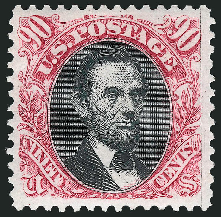 US Stamp Value Scott Catalogue # 132: 90c 1875 Pictorial Re-issue Lincoln. Robert Siegel Auction Galleries, Jun 2015, Sale 1106, Lot 3121