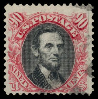 Price of US Stamp Scott Cat. # 132 - 90c 1875 Pictorial Re-issue Lincoln. Daniel Kelleher Auctions, Jan 2015, Sale 663, Lot 1374