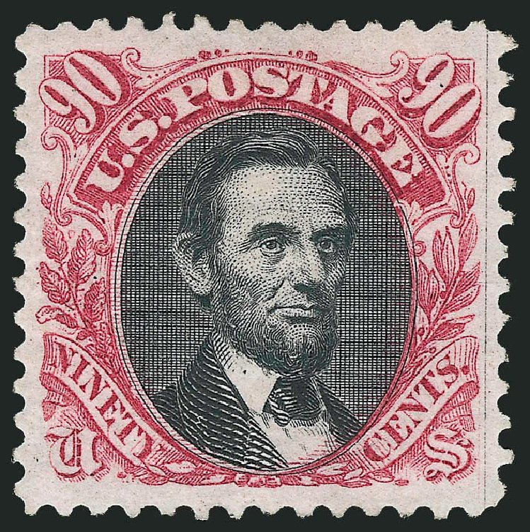 US Stamps Price Scott 132: 1875 90c Pictorial Re-issue Lincoln. Robert Siegel Auction Galleries, Dec 2014, Sale 1090, Lot 1294