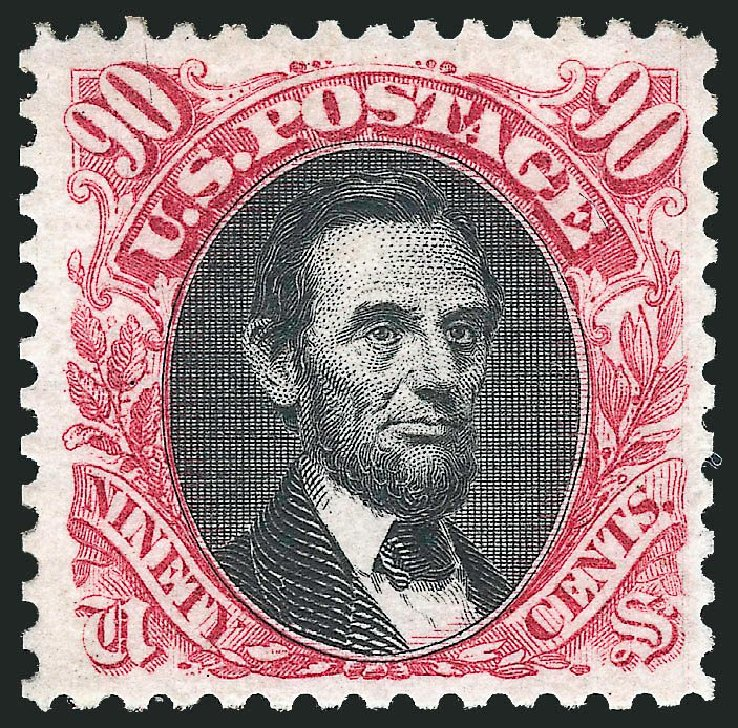 US Stamps Price Scott Cat. #132 - 1875 90c Pictorial Re-issue Lincoln. Robert Siegel Auction Galleries, Dec 2014, Sale 1090, Lot 1295