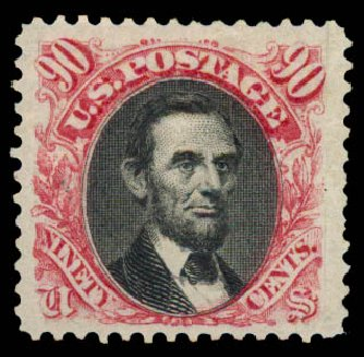 Value of US Stamps Scott #132 - 90c 1875 Pictorial Re-issue Lincoln. Daniel Kelleher Auctions, May 2015, Sale 669, Lot 2602