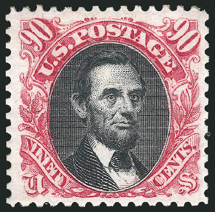 US Stamps Prices Scott Catalog 132: 90c 1875 Pictorial Re-issue Lincoln. Robert Siegel Auction Galleries, Jun 2015, Sale 1100, Lot 32
