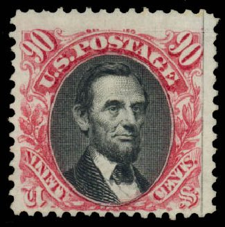 US Stamp Prices Scott Catalogue #132: 90c 1875 Pictorial Re-issue Lincoln. Daniel Kelleher Auctions, Jan 2015, Sale 663, Lot 1373