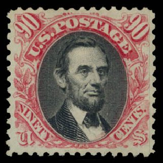 Cost of US Stamp Scott 132 - 90c 1875 Pictorial Re-issue Lincoln. Daniel Kelleher Auctions, May 2015, Sale 669, Lot 2603