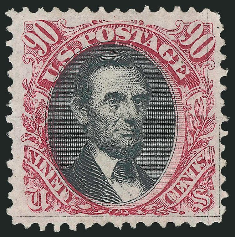 Costs of US Stamps Scott Catalogue #132: 1875 90c Pictorial Re-issue Lincoln. Robert Siegel Auction Galleries, Dec 2014, Sale 1090, Lot 1296