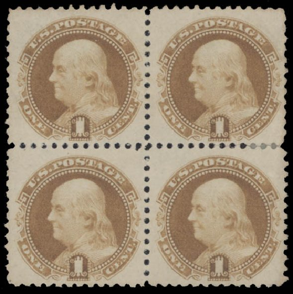Cost of US Stamps Scott Catalogue 133: 1c 1880 Pictorial Re-issue Franklin. Daniel Kelleher Auctions, Aug 2015, Sale 672, Lot 2399