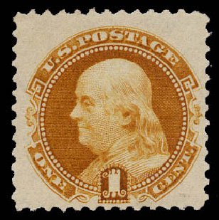US Stamp Value Scott Catalogue 133: 1c 1880 Pictorial Re-issue Franklin. Daniel Kelleher Auctions, May 2015, Sale 669, Lot 2604
