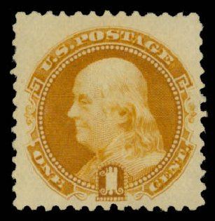 Value of US Stamps Scott Catalogue 133: 1880 1c Pictorial Re-issue Franklin. Daniel Kelleher Auctions, May 2015, Sale 669, Lot 2605