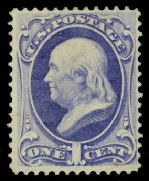 US Stamps Prices Scott Catalog 134 - 1c 1870 Franklin National Grill. Daniel Kelleher Auctions, Sep 2014, Sale 655, Lot 267