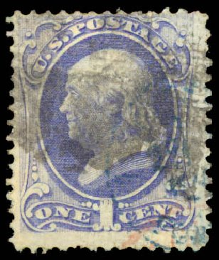 US Stamp Values Scott Cat. 134 - 1870 1c Franklin National Grill. Daniel Kelleher Auctions, May 2015, Sale 669, Lot 2607