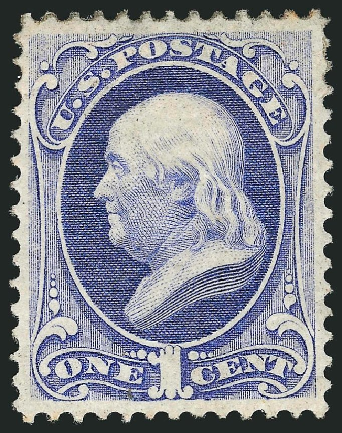 US Stamps Values Scott Cat. # 134: 1c 1870 Franklin National Grill. Robert Siegel Auction Galleries, Sep 2014, Sale 1078, Lot 269