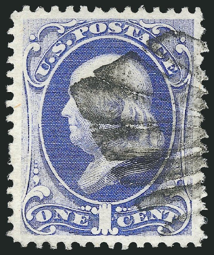 US Stamps Value Scott # 134: 1c 1870 Franklin National Grill. Robert Siegel Auction Galleries, Nov 2013, Sale 1061, Lot 3574