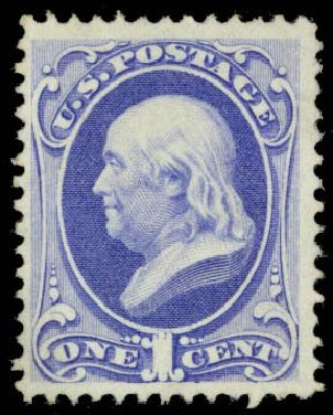 Values of US Stamps Scott Cat. # 134: 1c 1870 Franklin National Grill. Daniel Kelleher Auctions, Sep 2013, Sale 639, Lot 1052