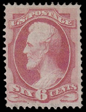 US Stamps Prices Scott 137: 6c 1870 Lincoln Grill. Daniel Kelleher Auctions, Jan 2015, Sale 663, Lot 1377