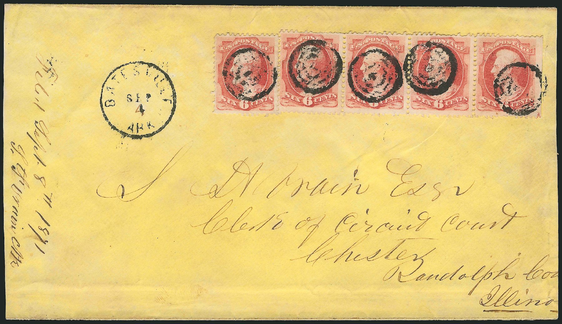 US Stamps Values Scott Cat. #137 - 1870 6c Lincoln Grill. Robert Siegel Auction Galleries, Nov 2014, Sale 1084, Lot 3371