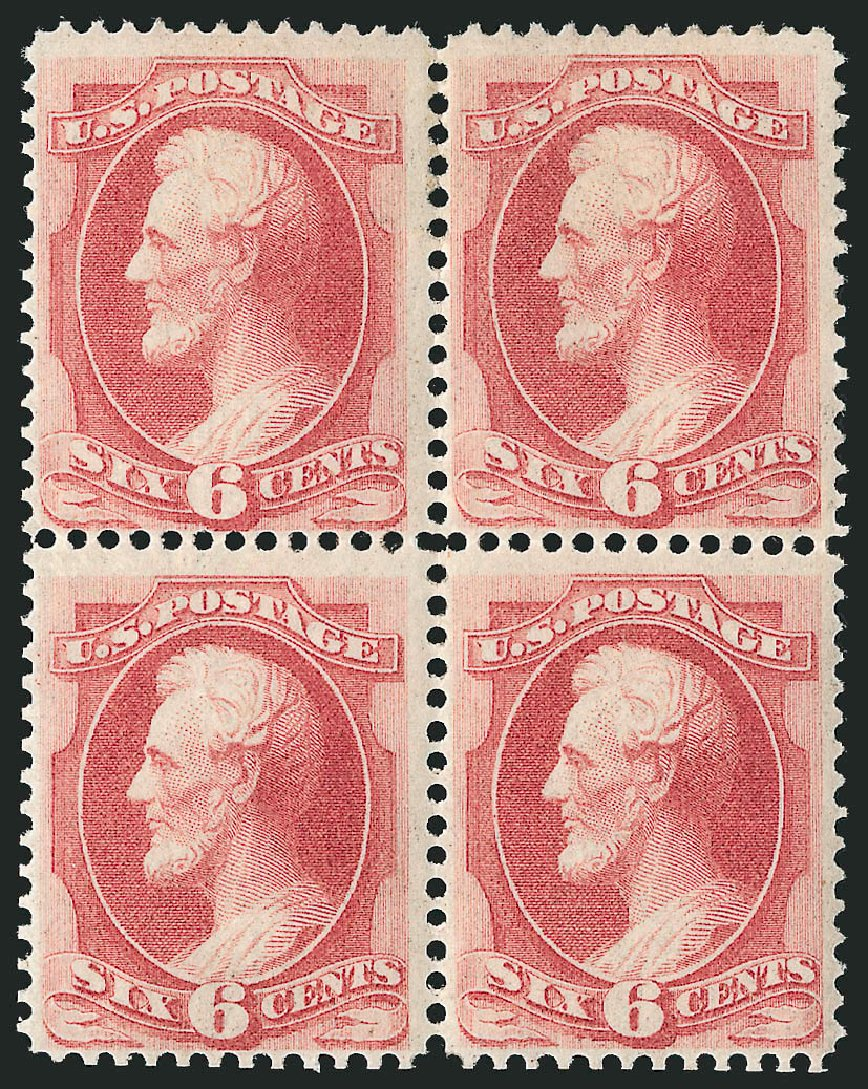 US Stamps Values Scott # 137: 6c 1870 Lincoln Grill. Robert Siegel Auction Galleries, Apr 2015, Sale 1096, Lot 264