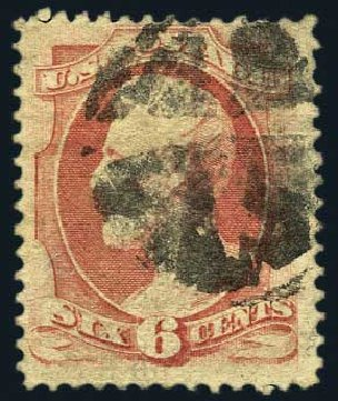 Prices of US Stamp Scott Cat. #137: 1870 6c Lincoln Grill. Harmer-Schau Auction Galleries, May 2015, Sale 105, Lot 125
