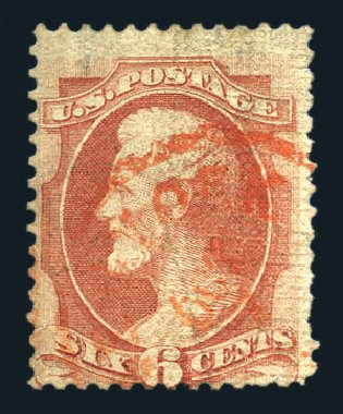 Price of US Stamps Scott Cat. 137 - 1870 6c Lincoln Grill. Harmer-Schau Auction Galleries, Aug 2015, Sale 106, Lot 1492