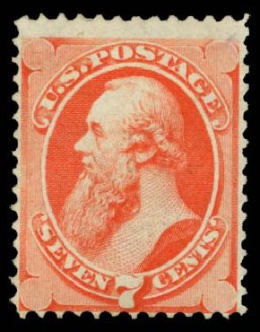US Stamps Values Scott Cat. #138 - 7c 1871 Stanton Grill. Daniel Kelleher Auctions, Mar 2014, Sale 650, Lot 2570