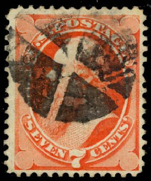 Value of US Stamps Scott Catalog 138: 7c 1871 Stanton Grill. Daniel Kelleher Auctions, Aug 2015, Sale 672, Lot 2404